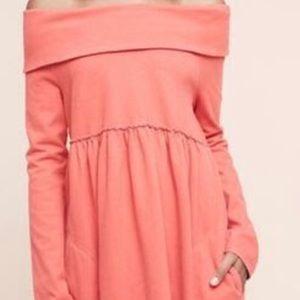 Saturday Sunday Coral off-shoulder dress